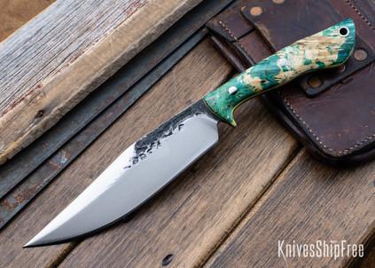 Lon Humphrey Knives: Hickok - Forged 52100 - Green & Black Box Elder Burl - Yellow Liners - 120249