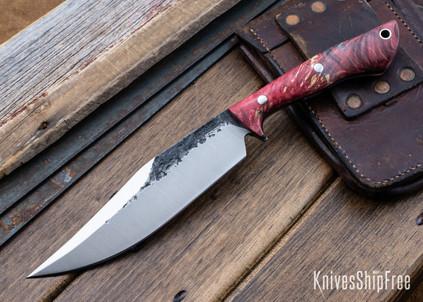 Lon Humphrey Knives: Hickok - Forged 52100 - Red & Black Box Elder Burl - Black Liners - 120250