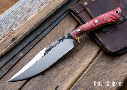 Lon Humphrey Knives: Hickok - Forged 52100 - Red & Black Box Elder Burl - Yellow Liners - 120256
