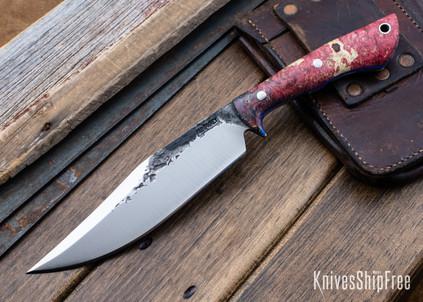 Lon Humphrey Knives: Hickok - Forged 52100 - Red & Blue Box Elder Burl - Blue Liners - 120260