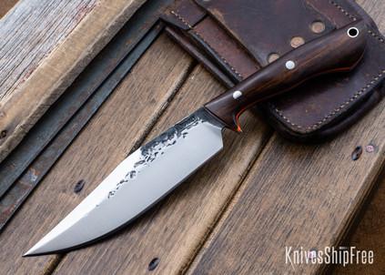 Lon Humphrey Knives: Hickok - Forged 52100 - Desert Ironwood - Orange Liners - 120289