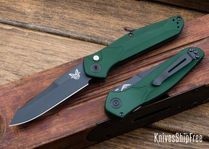 Benchmade Knives: 9400BK Osborne Auto - Green Aluminum - CPM-S30V - Black Blade