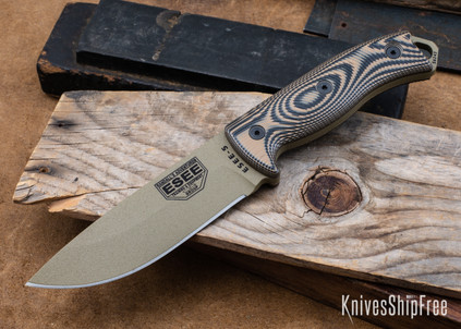 ESEE Knives: ESEE-5PDE - Dark Earth Finish - Coyote & Black G-10
