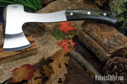 Bark River Knives: Hunter's Ax - Black & Green Linen Micarta - Black Liners