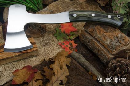 Bark River Knives: Hunter's Ax - Black & Green Linen Micarta - Toxic Green Liners