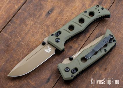 Benchmade Knives: 273FE-2 Mini Adamas - Olive Drab G-10 - CPM CruWear - Flat Earth Cerakote