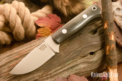 Bark River Knives: Bravo Necker - CPM 154 - Black Canvas Micarta