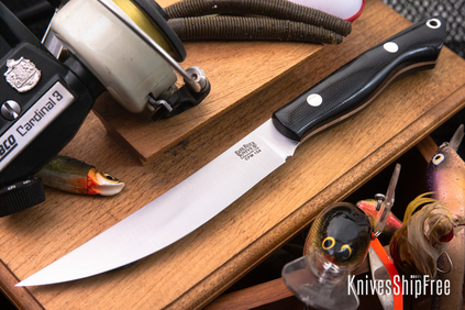 Bark River Knives: Kalahari Mini-Sportsman - CPM 154 - Black Canvas Micarta