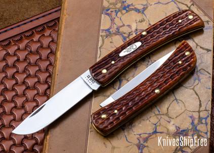 Case Knives: Sod Buster Jr. - Pocket Worn Orange Corn Cob Jig Bone - 07396