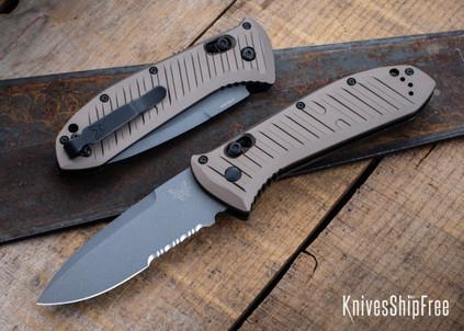 Benchmade Knives: 5700SGY-1 Auto Presidio II - Burnt Bronze Aluminum - CPM-M4 - Gray Cerakote