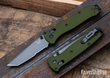 Benchmade Knives: 537SGY-1 Bailout - CPM-M4 Tanto - Partially Serrated - Grey Cerakote - Woodland Green Aluminum