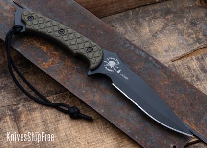 Spartan Blades: Ares - Green Micarta - CPM-S45VN - Black PVD