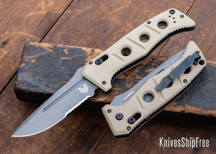 Benchmade Knives: 2750SGY-3 Adamas Auto - Sand G-10 - CPM CruWear - Tungsten Gray Cerakote - Partially Serrated