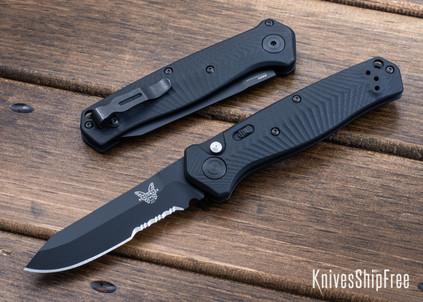 Benchmade Knives: 8551SBK Mediator - Push Button Auto - Textured Black G-10 - CPM S90V - Black Cerakote - Partially Serrated