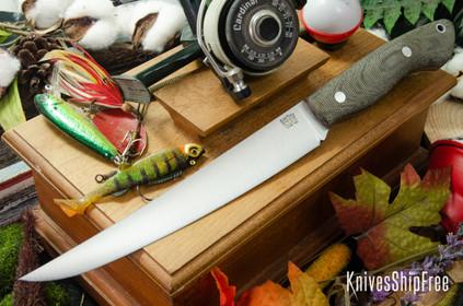 Bark River Knives: Kalahari Sportsman - CPM 154 - Green Canvas Micarta - Matte