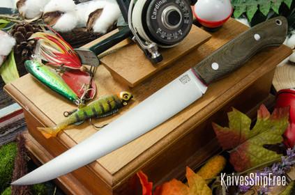 Bark River Knives: Kalahari Sportsman - CPM 154 - Green Canvas Micarta - Red Liners