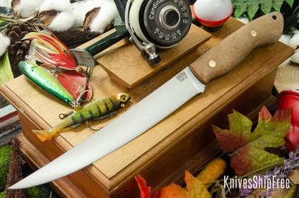 Bark River Knives: Kalahari Sportsman - CPM 154 - Natural Canvas Micarta - Green Liners - Brass Pins - Matte