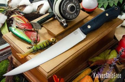 Bark River Knives: Kalahari Sportsman - CPM 154 - Navy Burlap Micarta - Black Liners - Brass Pins