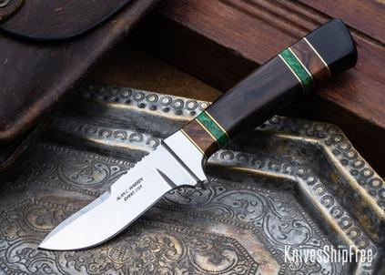 Alan Warren Custom Knives: #2425 Humpback Hunter - African Blackwood - Ironwood & Dyed Maple Spacers - CPM-154