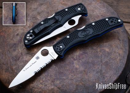Spyderco: Endura 4 Lightweight - Thin Blue Line - Black FRN - Blue Liners - VG-10 - Partially Serrated - C10FPSBKBL