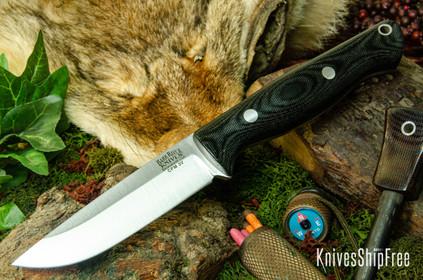 Bark River Knives: Gunny Hunter LT - CPM 3V - Black Canvas Micarta