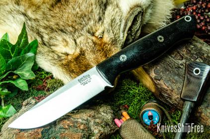 Bark River Knives: Gunny Hunter LT - CPM 3V - Black Canvas Micarta - Mosaic Pins