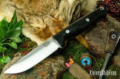 Bark River Knives: Gunny Hunter LT - CPM 3V - Black Linen Micarta