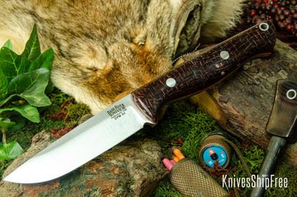 Bark River Knives: Gunny Hunter LT - CPM 3V - Burgundy Burlap Micarta - Orange Liners