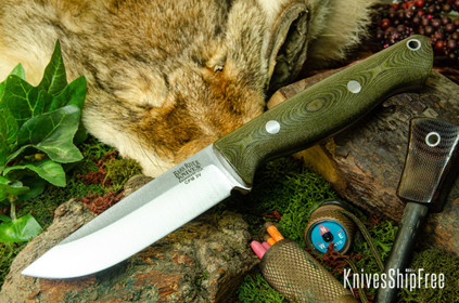 Bark River Knives: Gunny Hunter LT - CPM 3V - Green Linen Micarta