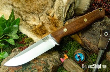 Bark River Knives: Gunny Hunter LT - CPM 3V - Walnut Burl - Blue Liners - Brass Pins #2