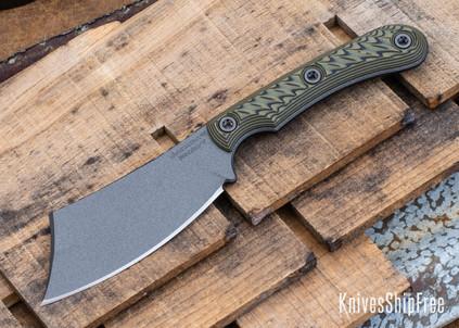 RMJ Tactical: Jackdaw - EDC Cleaver - Nitro-V - Tungsten Cerakote - Dirty Olive G-10