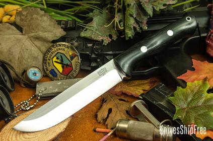 Bark River Knives: Bravo 1.5 - Black Canvas Micarta - Rampless