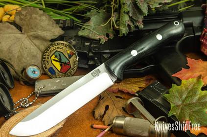 Bark River Knives: Bravo 1.5 - Black Canvas Micarta - Rampless - Drop Point