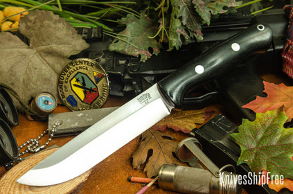 Bark River Knives: Bravo 1.5 - Black Canvas Micarta - Red Liners - Rampless