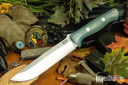 Bark River Knives: Bravo 1.5 - Ghost Green Jade G-10 - Blue Liners