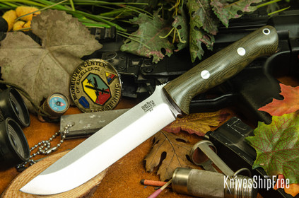 Bark River Knives: Bravo 1.5 - Green Canvas Micarta