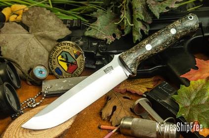 Bark River Knives: Bravo 1.5 - Tri Color Brown Jute Wood - White Liner
