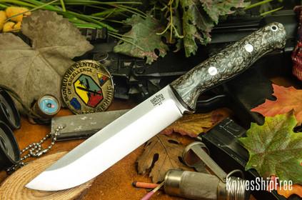 Bark River Knives: Bravo 1.5 - Black & White Jute Wood - Sea Blue Liner - Rampless