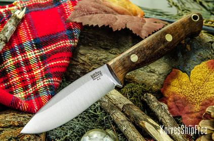 Bark River Knives: UP EDC - Curly Koa Burl - Black Liners - Brass Pins