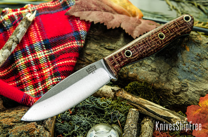 Bark River Knives: UP EDC - Drunken Coffeebag - Toxic Green Liners - Hollow Brass Pins