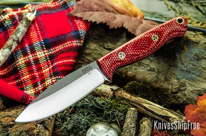 Bark River Knives: UP EDC - Firedog Canvas Micarta - Thick Black Liners - Mosaic Pins