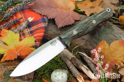 Bark River Knives: UP Gunny - Black Waters Jute Wood - Mosaic Pins