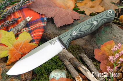 Bark River Knives: UP Gunny - Gray & Black Suretouch - Matte - Mosaic Pins