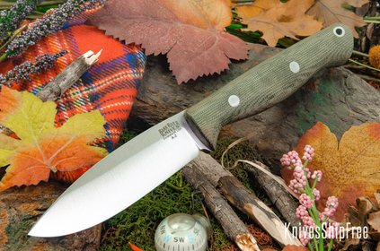Bark River Knives: UP Gunny - Green Canvas Micarta - Matte