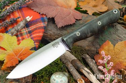 Bark River Knives: UP Gunny - Onyx Maple Burl - Mosaic Pins