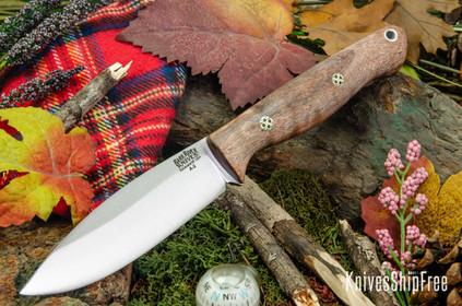 Bark River Knives: UP Gunny - Peach Tigertail Maple Burl - Mosaic Pins