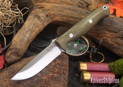Bark River Knives: Gunny - Green Canvas Micarta