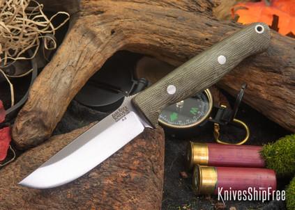 Bark River Knives: Gunny - Green Canvas Micarta - Matte