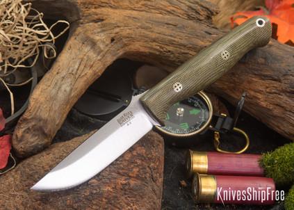 Bark River Knives: Gunny - Green Canvas Micarta - Mosaic Pins