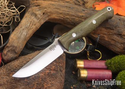 Bark River Knives: Gunny - Green Canvas Micarta - Orange Liners